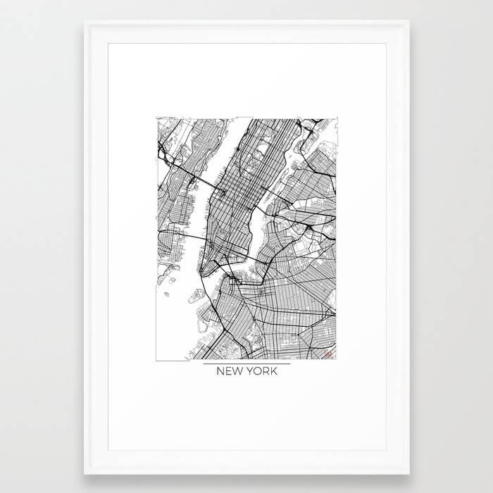 New York Map White Framed Art Print image