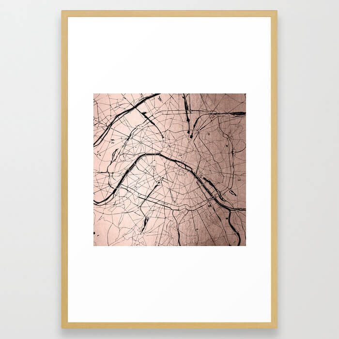 Paris France Minimal Street Map - Rose Gold Glitter on Black Framed Art Print