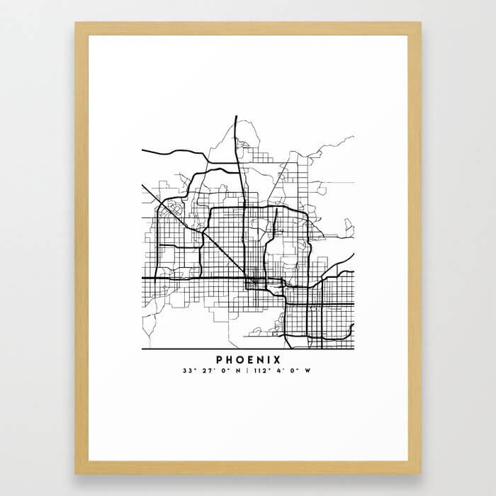 PHOENIX ARIZONA BLACK CITY STREET MAP ART Framed Art Print