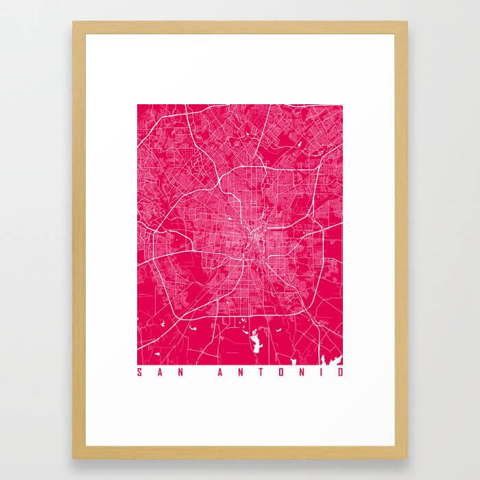 San Antonio map raspberry Framed Art Print