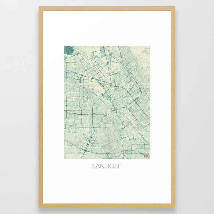 San Jose Map Blue Vintage Framed Art Print