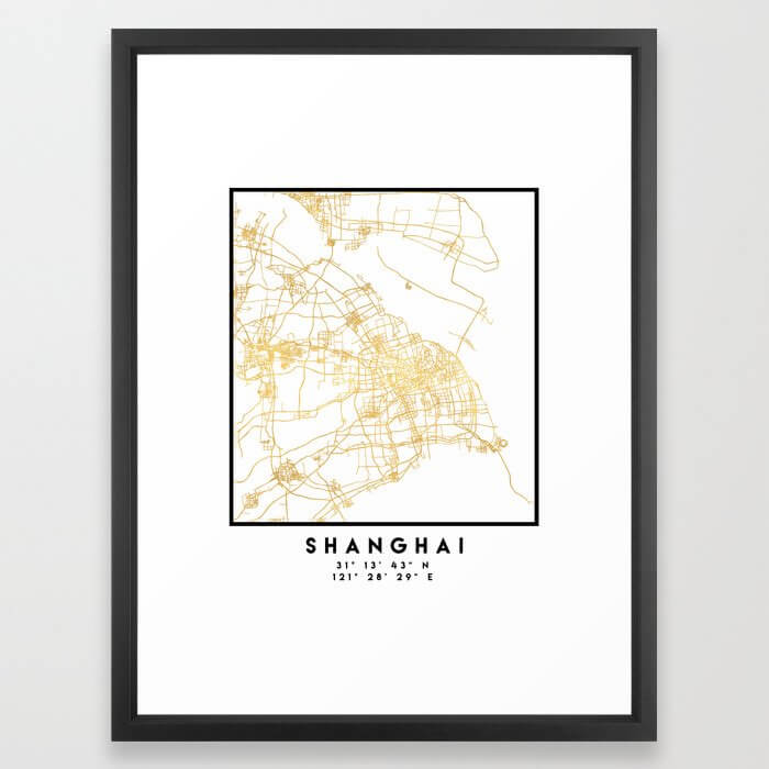 SHANGHAI CHINA CITY STREET MAP ART Framed Art Print