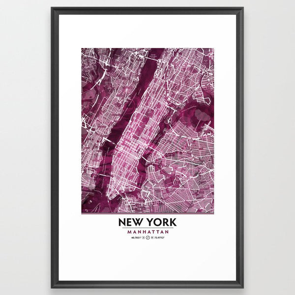 Black Rose Print Showing Manhattan NYC image