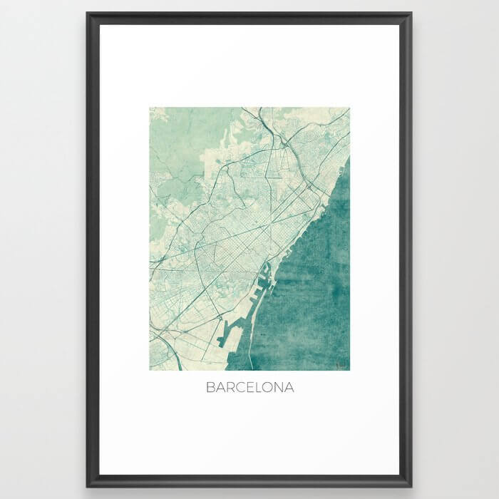 Barcelona Map Blue Vintage Framed Art Print