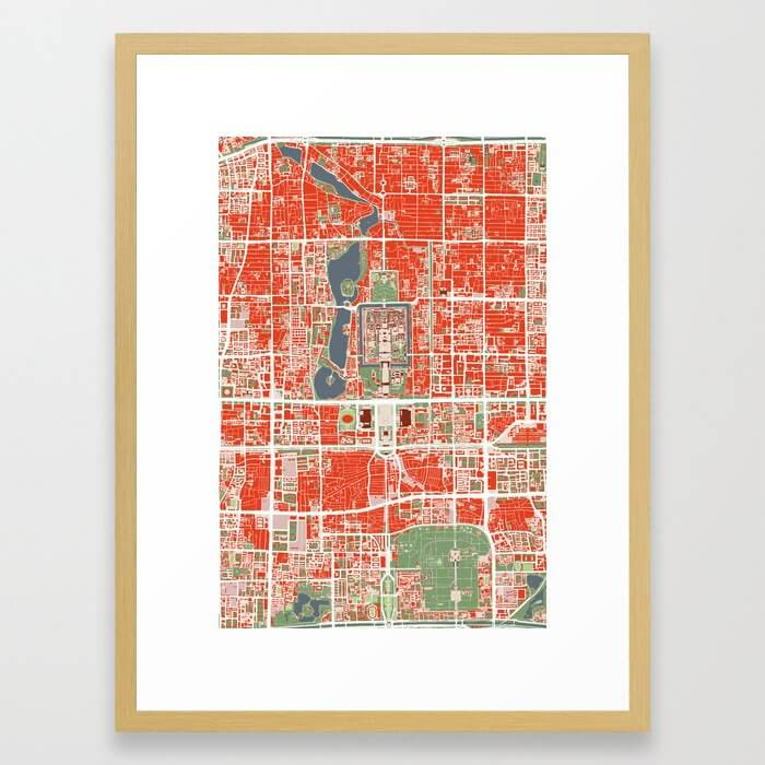 Beijing city map classic Framed Art Print