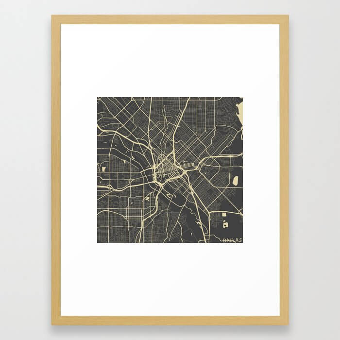 Dallas map yellow Framed Art Print