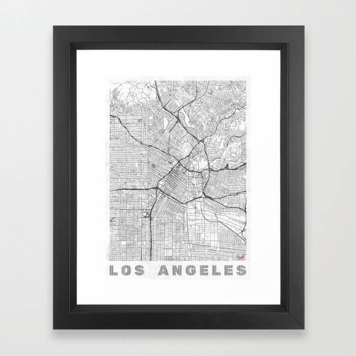 Los Angeles Map Line Framed Art Print