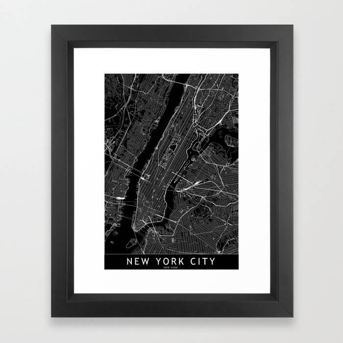 New York City Black Map Framed Art Print image