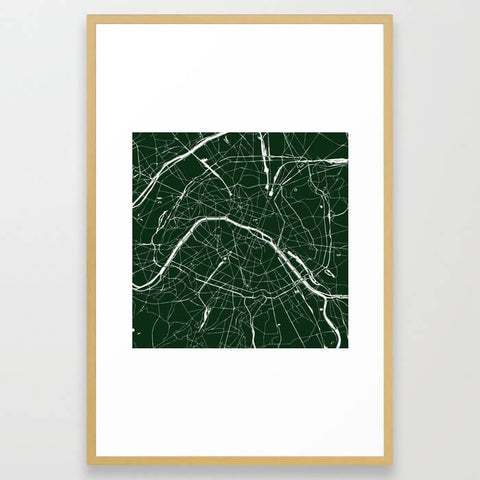 Paris France Minimal Street Map - Forest Green Framed Art Print