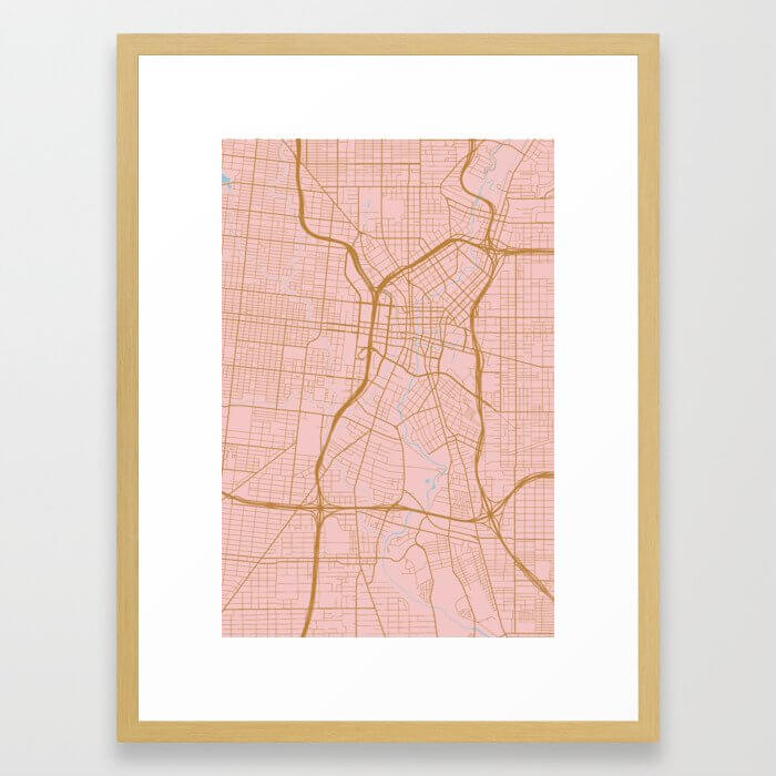 San Antonio map, Texas Framed Art Print