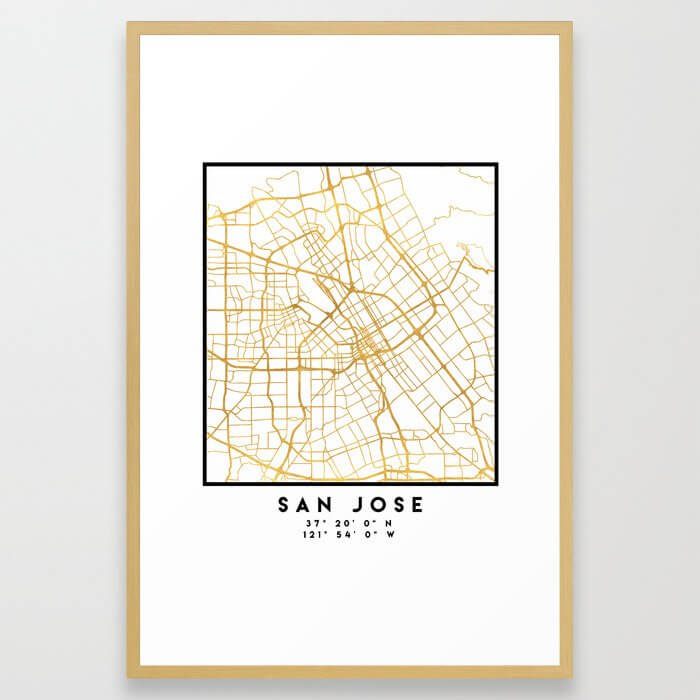 SAN JOSE CALIFORNIA CITY STREET MAP ART Framed Art Print