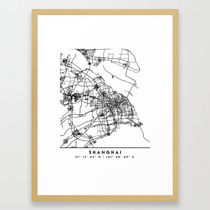 SHANGHAI CHINA BLACK CITY STREET MAP ART Framed Art Print