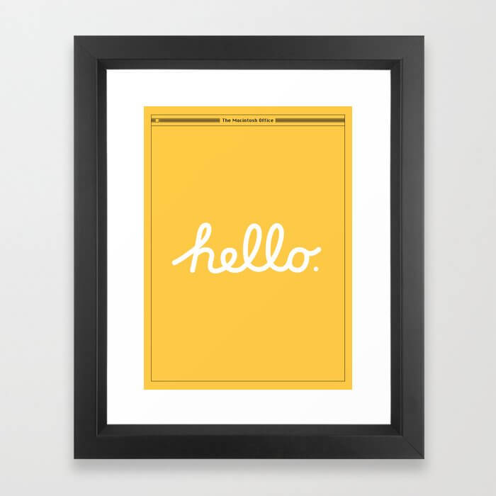 Hello: The Macintosh Office (Yellow) Framed Art Print
