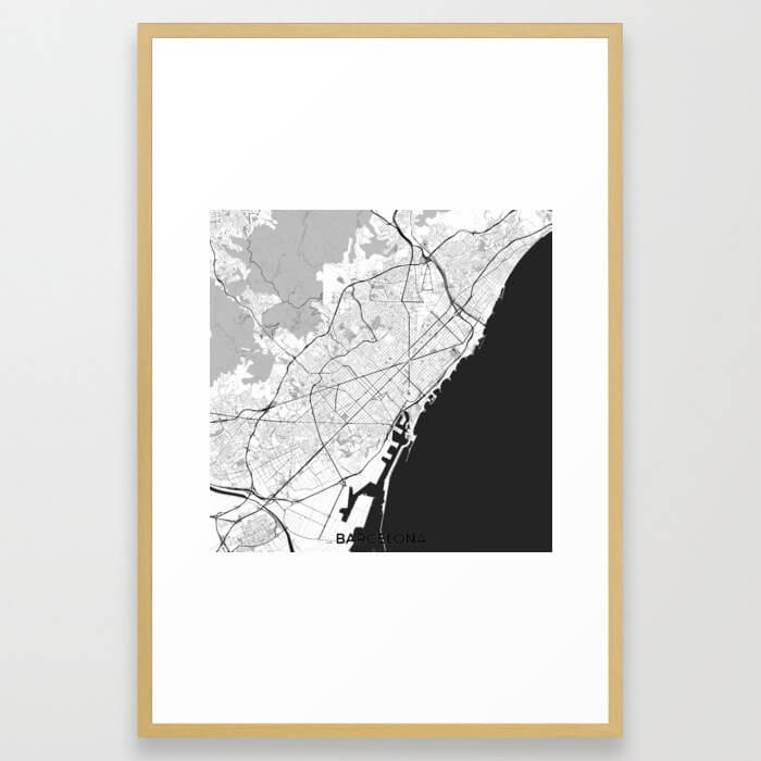 Barcelona Map Gray Framed Art Print