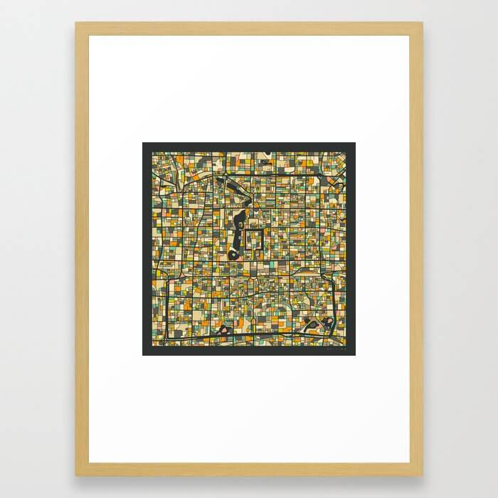 Beijing Map Framed Art Print