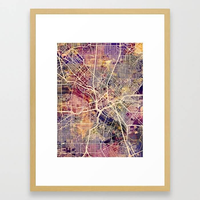 Dallas Texas City Map Framed Art Print