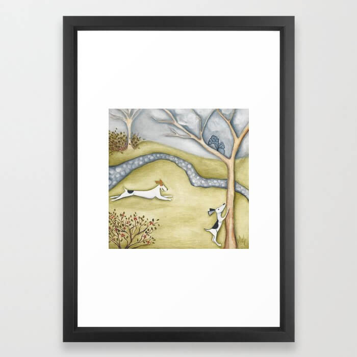 Dog squirrel landscape painting GET IT! original art Framed Art Print