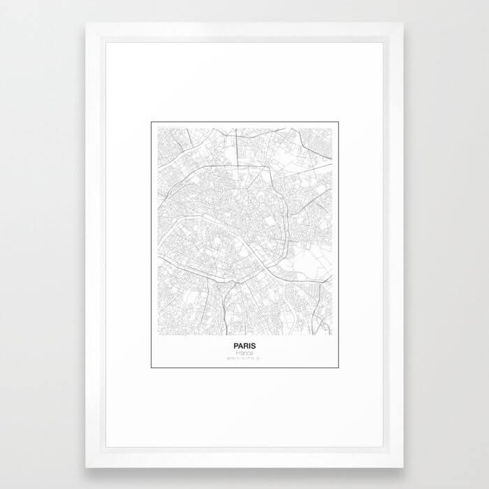 Paris, France Minimalist Map Framed Art Print