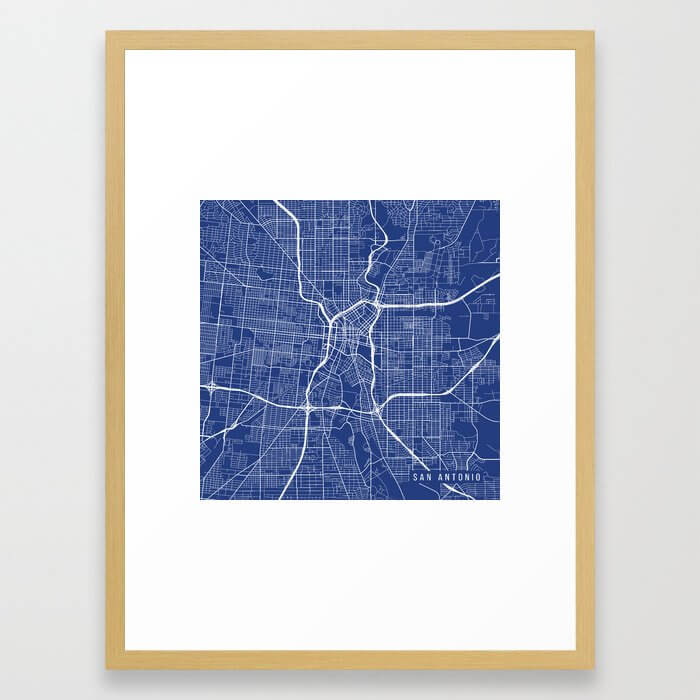 San Antonio Map, USA - Blue Framed Art Print