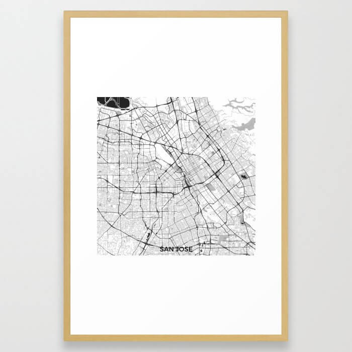 San Jose Map Gray Framed Art Print