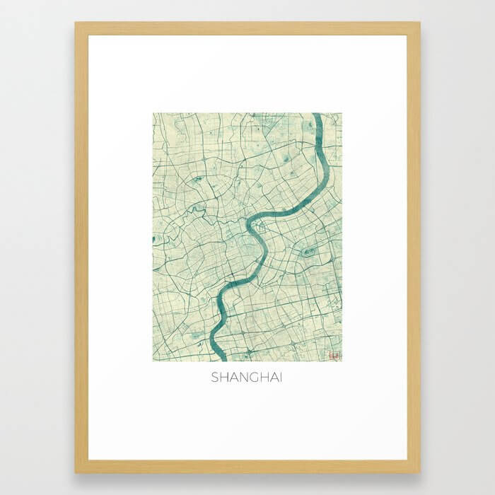 Shanghai Map Blue Vintage Framed Art Print