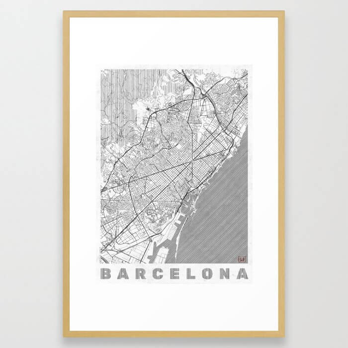 Barcelona Map Line Framed Art Print
