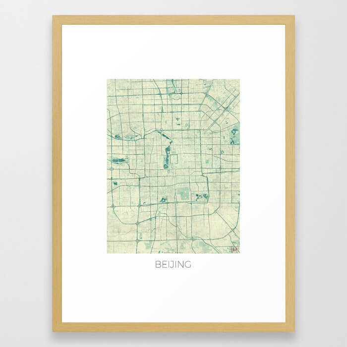 Beijing Map Blue Vintage Framed Art Print