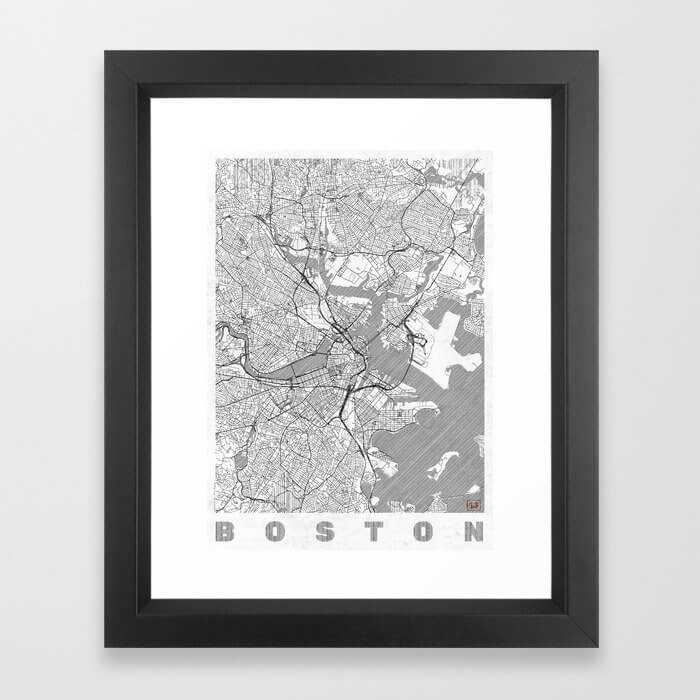 Boston Map Line Framed Art Print