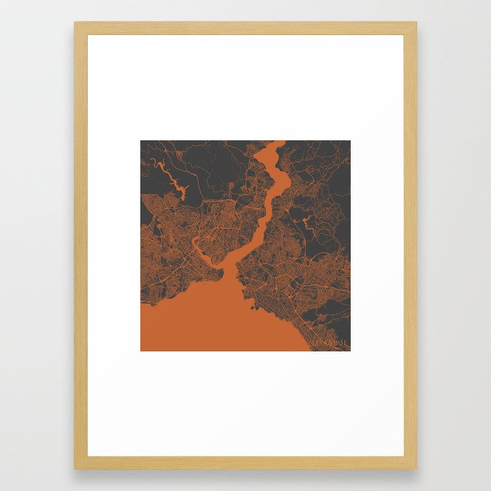 Istanbul Map orange Framed Art Print