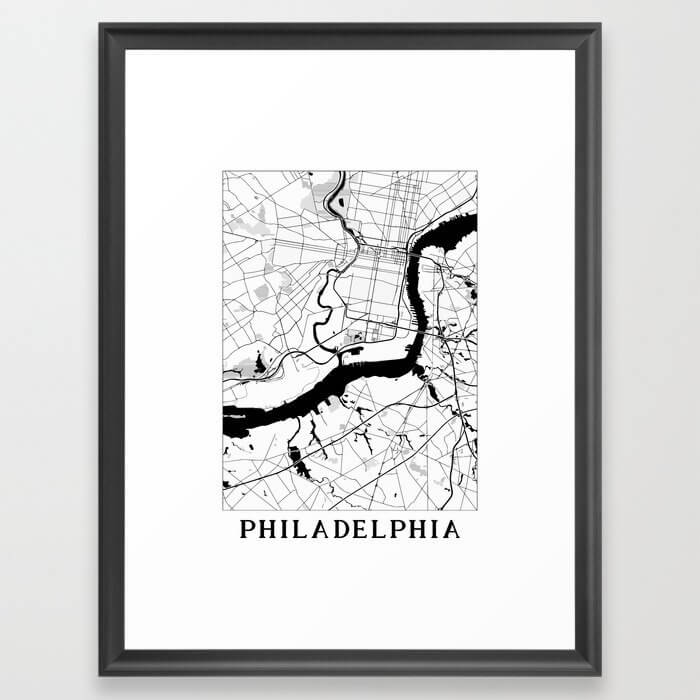 Philadelphia Minimal Map Framed Art Print