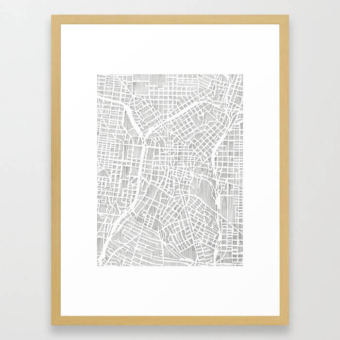 san antonio map print Framed Art Print