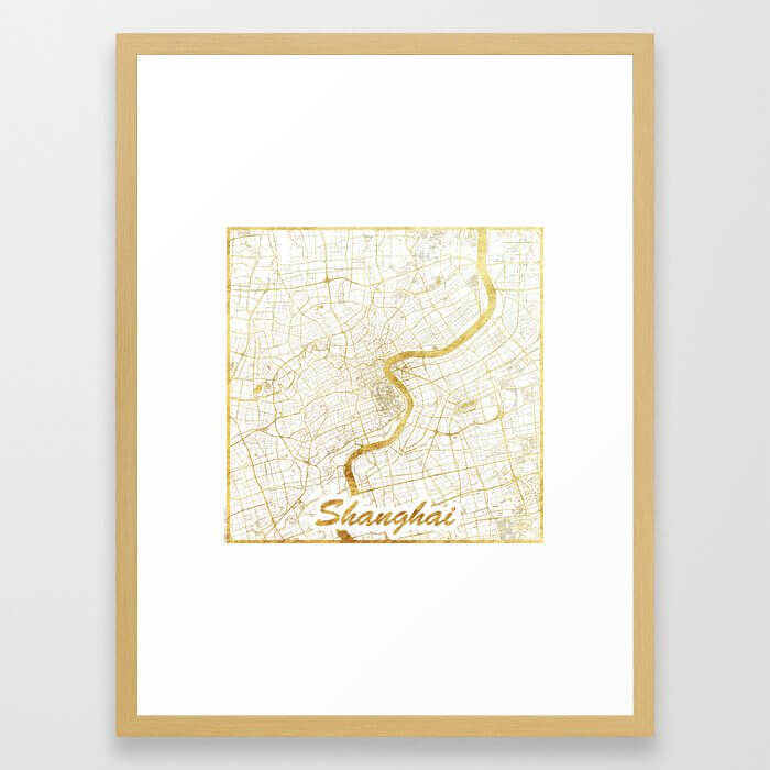 Shanghai Map Gold Framed Art Print