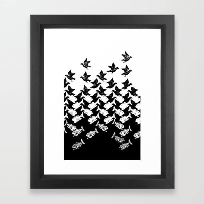 fish and birds tessellation art deco Framed Art Print