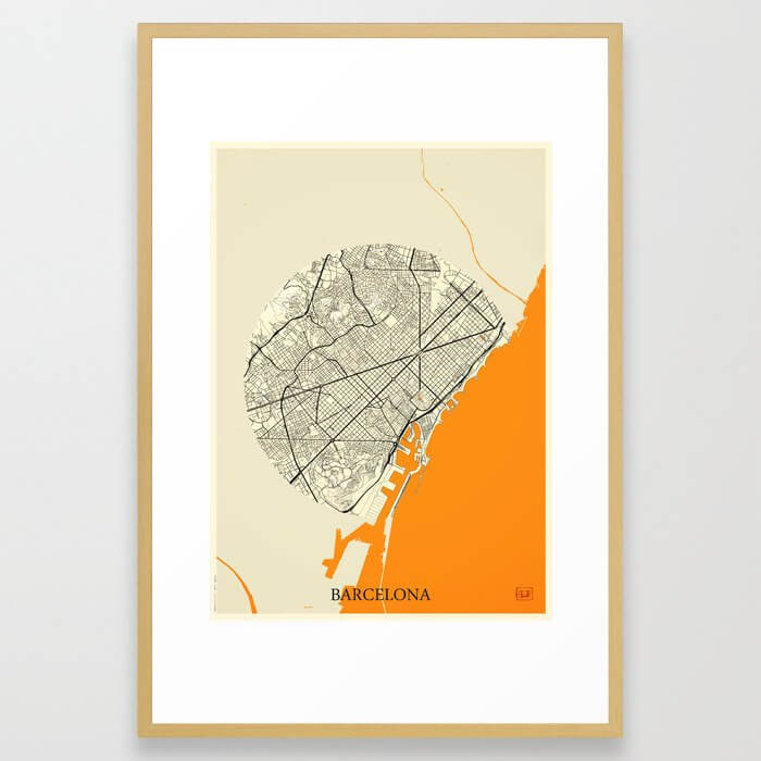 Barcelona Map Moon Framed Art Print