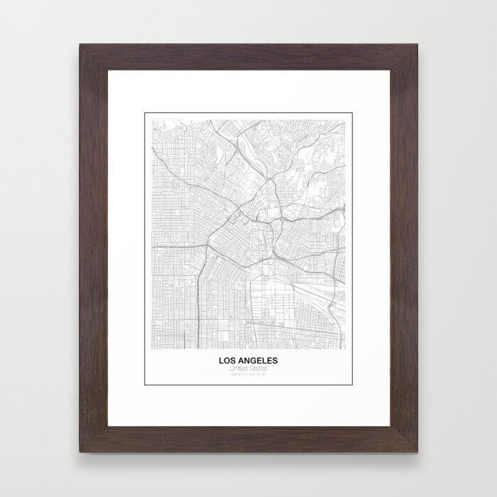 Los Angeles, United States Minimalist Map Framed Art Print