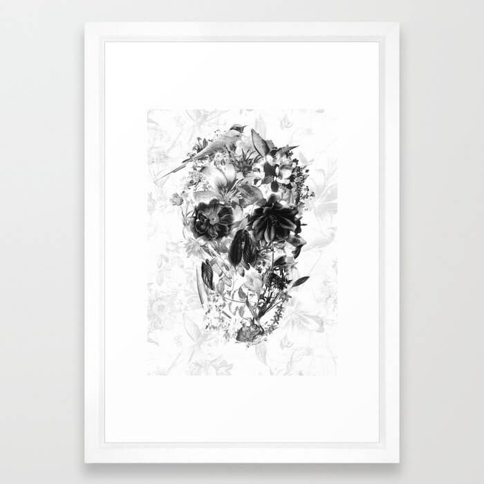 New Skull Light B&W Framed Art Print