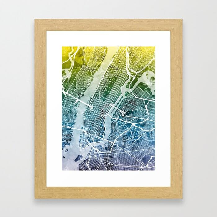 New York City Street Map Framed Art Print image