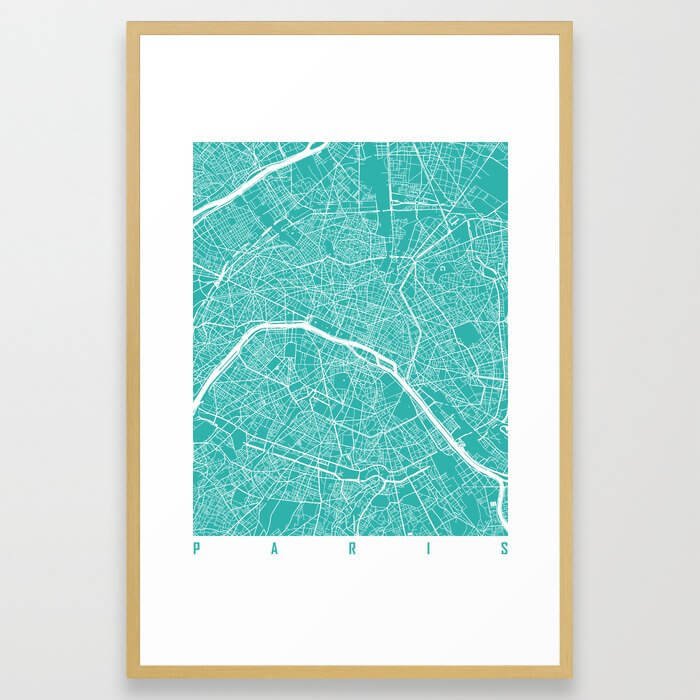 Paris map turquoise Framed Art Print