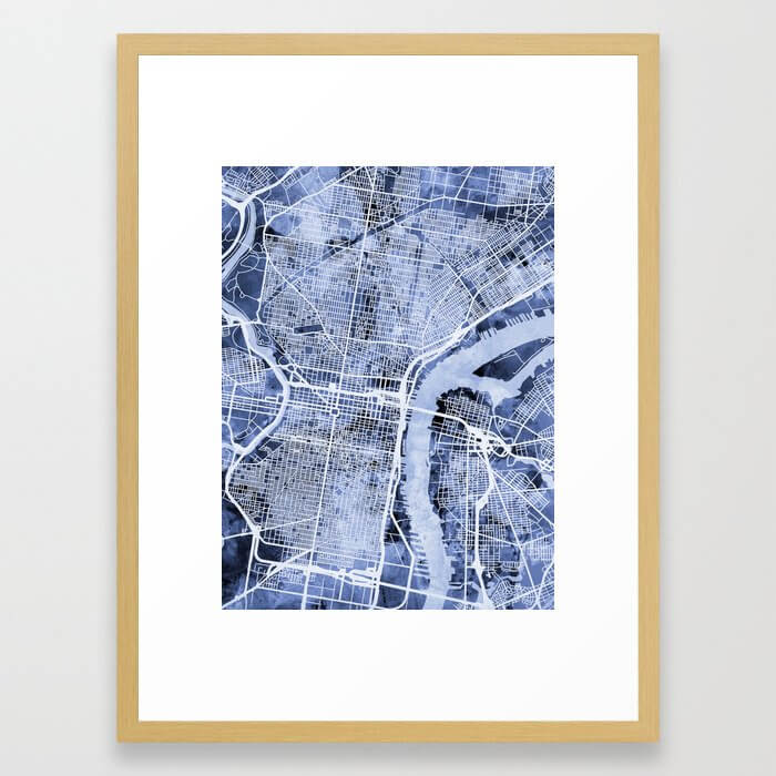 Philadelphia Pennsylvania City Street Map Framed Art Print