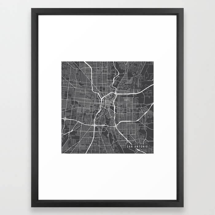 San Antonio Map, USA - Gray Framed Art Print