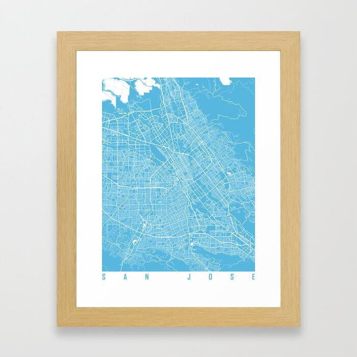 San Jose map blue Framed Art Print