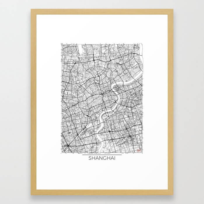 Shanghai Map White Framed Art Print