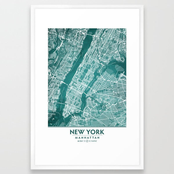 Turquoise Teal Wall Art Showing Manhattan New York City image