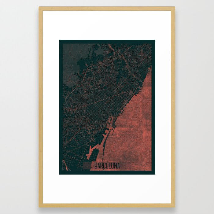 Barcelona Map Red Framed Art Print