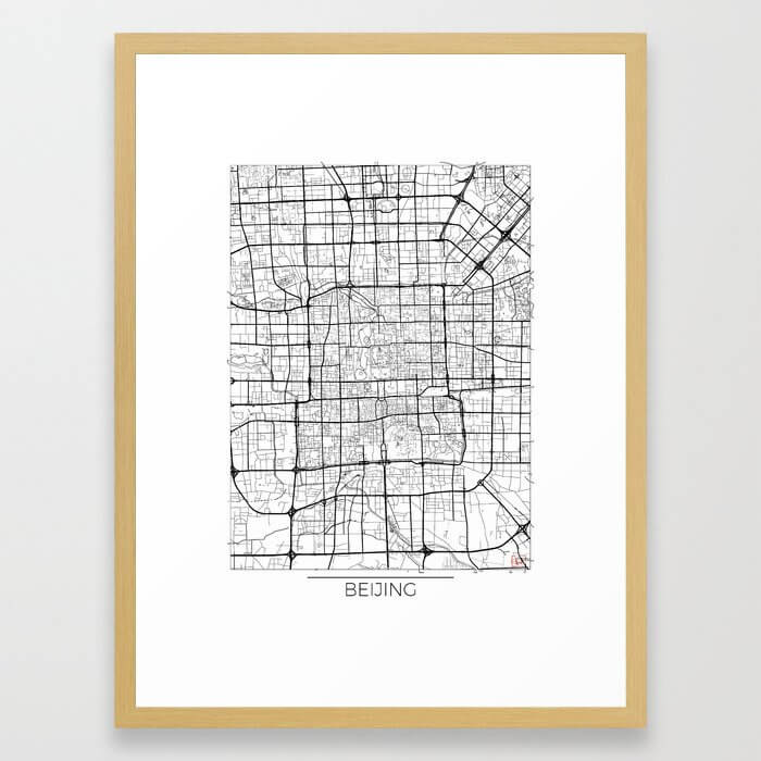 Beijing Map White Framed Art Print