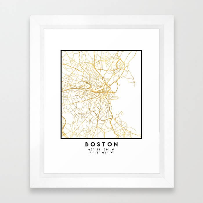 BOSTON MASSACHUSETTS CITY STREET MAP ART Framed Art Print