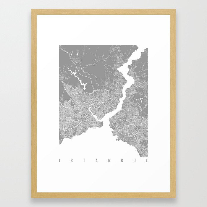 Istanbul map grey Framed Art Print