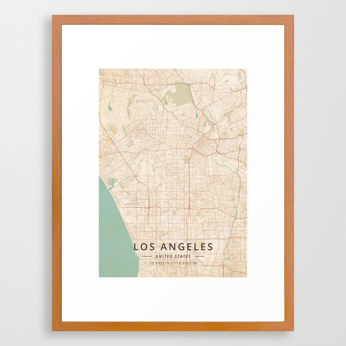 Los Angeles, United States - Vintage Map Framed Art Print