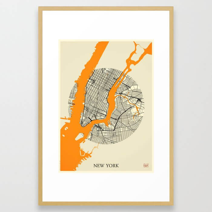 New York Map Moon Framed Art Print image