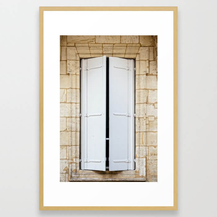 Old fashioned window with shutters Framed Art Print